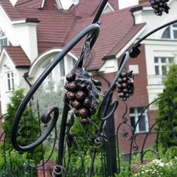 Растительный орнамент прекрасно дополнит кованый узор ваших ворот кирпичного забора